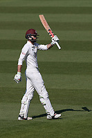 Ben Foakes of Surrey raises his bat to celebrate reaching his fifty during Surrey CCC vs Essex CCC, Specsavers County Championship Division 1 Cricket at the Kia Oval on 11th April 2019