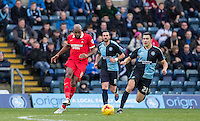 Nigel Atangana of Leyton Orient plays a pass during the Sky Bet League 2 match between Wycombe Wanderers and Leyton Orient at Adams Park, High Wycombe, England on 23 January 2016. Photo by Andy Rowland / PRiME Media Images.