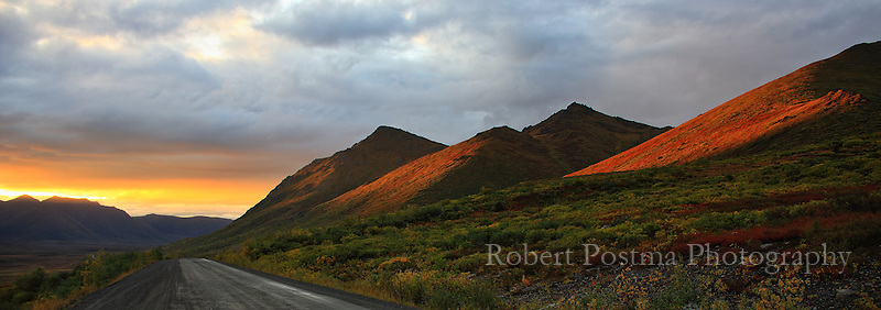 Setting sun over Dempster Highway.