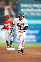 Frederick Keys left fielder Jay Gonzalez (13) running the bases during a game against the Carolina Mudcats on June 4, 2016 at Nymeo Field at Harry Grove Stadium in Frederick, Maryland.  Frederick defeated Carolina 5-4 in eleven innings.  (Mike Janes/Four Seam Images)