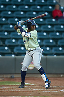 Seuly Matias (25) of the Wilmington Blue Rocks at bat against the Winston-Salem Dash at BB&T Ballpark on April 15, 2019 in Winston-Salem, North Carolina. The Dash defeated the Blue Rocks 9-8. (Brian Westerholt/Four Seam Images)