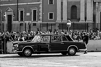 """One of the Lancia Flaminia, car of the President of the Republic.<br /> <br /> Rome, 02/06/2019. Today, Italy celebrated the annual """"Festa Della Repubblica"""" (Republic Day, 1.). The 73rd Anniversary of the Italian Republic (*) was marked with the """"Raising the Flag Ceremony"""" and the tribute to the Sacello del Milite Ignoto (Unknown Soldier) at the Altare della Patria """"Vittoriano"""" (2.) by the President of the Italian Republic Sergio Mattarella, followed by the traditional army, veterans and civilians parade along Via Dei Fori Imperiali. This year, the President of the Republic was accompanied by the Defence Minister Elisabetta Trenta, the Italian Prime Minister Giuseppe Conte, the Presidents of the two Chambers of the Parliament, Roberto Fico and Maria Elisabetta Alberti Casellati, several members of the Italian Government, political leaders, senior officers of the Armed Forces and representatives of the Civilian Organizations. At the end of the events the Frecce Tricolori, the Italian Aerobatic Team, coloured the sky over Rome with the Tricolore (Tricolour: Green, White, Red) of the Italian Flag. The theme for this year's event was inclusiveness. <br /> <br /> Footnotes and Links:<br /> (*) The Referendum was held on 2 June 1946 and it marked the decision made by the Italian people to adopt the Republic as the new institutional form for the Country. <br /> 1. http://bit.do/eT8By (ITA) & http://bit.do/eT8Bv (ENG) at https://www.difesa.it/<br /> 2. http://bit.do/eT8BG (Wikipedia)"""