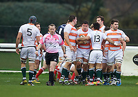 Alex Bradley (middle) of Ealing Trailfinders  celebrates his try during the Greene King IPA Championship match between London Scottish Football Club and Ealing Trailfinders at Richmond Athletic Ground, Richmond, United Kingdom on 26 December 2015. Photo by Alan  Stanford / PRiME Media Images