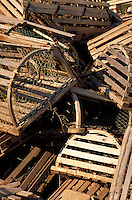 discarded traditional lobster traps. Maine USA Coastal (Down East).