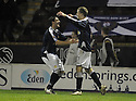 11/02/2008    Copyright Pic: James Stewart.File Name : sct_jspa12_motherwell_v_dundee.SCOTT ROBERTSON (RIGHT) IS CONGRATULATED AFTER HE SCORES DUNDEE'S SECOND.James Stewart Photo Agency 19 Carronlea Drive, Falkirk. FK2 8DN      Vat Reg No. 607 6932 25.Studio      : +44 (0)1324 611191 .Mobile      : +44 (0)7721 416997.E-mail  :  jim@jspa.co.uk.If you require further information then contact Jim Stewart on any of the numbers above........