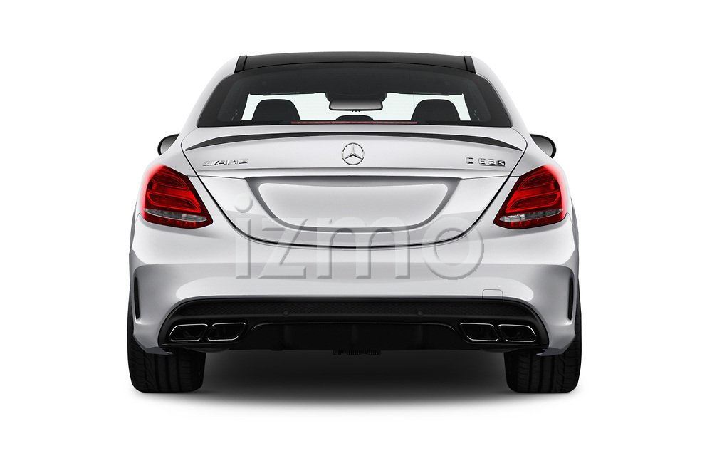 Straight rear view of 2018 Mercedes Benz C-Class AMG-C63-S 4 Door Sedan Rear View  stock images