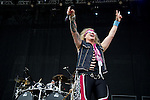 Ralph Saenz of Steel Panther performs during the 2013 Rock On The Range festival at Columbus Crew Stadium in Columbus, Ohio.