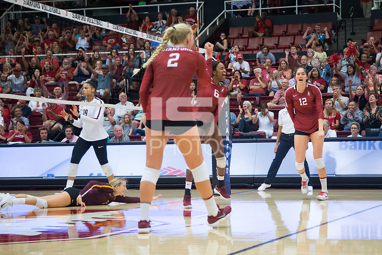 STANFORD, CA - September 9, 2018: Audriana Fitzmorris, Tami Alade, Kathryn Plummer at Maples Pavilion. The Stanford Cardinal defeated #1 ranked Minnesota 3-1 in the Big Ten / PAC-12 Challenge.