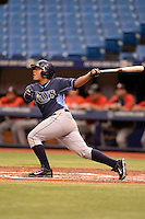 Tampa Bay Rays catcher David Rodriguez (68) during an Instructional League game against the Boston Red Sox on September 25, 2014 at Tropicana Field in St. Petersburg, Florida.  (Mike Janes/Four Seam Images)