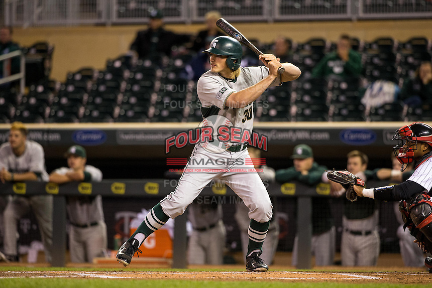Cam Gibson (30) of the Michigan State Spartans bats during a 2015 Big Ten Conference Tournament game between the Maryland Terrapins and Michigan State Spartans at Target Field on May 20, 2015 in Minneapolis, Minnesota. (Brace Hemmelgarn/Four Seam Images)