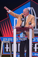 Canton, OH - August 4, 2018: Former Green Bay Packers guard Jerry Kramer gives his Pro Football Hall of Fame enshrinement speech at the Tom Benson Hall of Fame Stadium in Canton, Ohio, August 4, 2018. Kramer played for the Packers during the Vince Lomardi era from 1958-1968.  (Photo by Don Baxter/Media Images International)