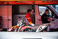 KTM mechanics in KTM box at Spanish Motocross Championship at Albaida circuit (Spain), 22-23 February 2014