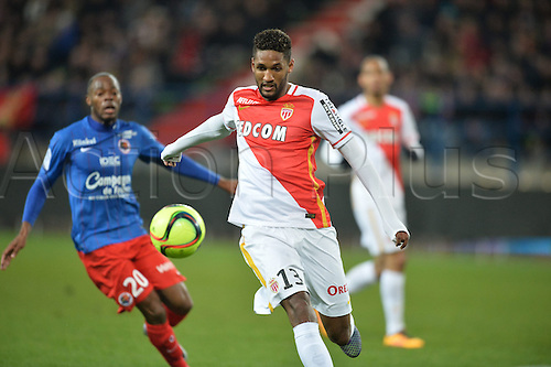 04.03.2016. Caen, France. French League 1 football. Caen versus Monaco.  WALLACE (mon) brings the ball away from Herve Bazile
