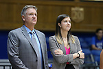 DURHAM, NC - NOVEMBER 26: Presbyterian head coach Todd Steelman and assistant Megan Buckland. The Duke University Blue Devils hosted the Presbyterian College Blue Hose on November 26, 2017 at Cameron Indoor Stadium in Durham, NC in a Division I women's college basketball game. Duke won the game 79-45.