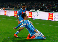 Jose Callejon  celebrateswith  Lorenzo Insigne after scoring during the Italian Serie A soccer match between SSC Napoli and Juventus FC   at San Paolo stadium in Naples, March 30 , 2014