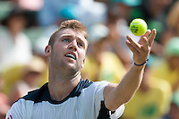March 4, 2016: Jack Sock of USA in action against Bernard Tomic of Australia during match two of the BNP Paribas Davis Cup World Group first round tie between Australia and USA at Kooyong tennis club in Melbourne, Australia. Photo Sydney Low