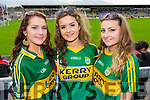 Pictured at the Kerry v Cork Munster Final in Fitzgerald Stadium, Killarney on Saturday evening last were l-r: Rebecca Lyons (Currow) Laura Skehan (Castleisland) and Melissa O'Connell (Scartaglin).