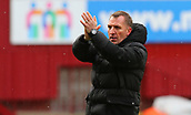 18th March 2018, Fir Park, Motherwell, Scotland; Scottish Premiership football, Motherwell versus Celtic;  Brendan Rodgers applauds the travelling fans after the final whistle