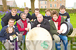 Liam O'Maonlai? and Ro?na?n O?'Sno?daigh launch the World Bodhran festival in Milltown on Saturday front row l-r: Mike, Kate Cronin, Ro?na?n O?'Sno?daigh, Dan Cronin, Liam O'Maonlai?. Back row: Daniel O'Loughlin, Mark Cronin, Sean de Butleir, Kevin and Liam Cronin