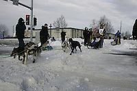 Kjetil Backen in Anchorage on Saturday March 1st during the ceremonial start day of the 2008 Iidtarod Sled Dog Race.
