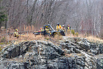 COLEBROOK, CT. 31 December 2018-123118 - Fire and emergency crews use ATV's in the rough terrain to search the the woods of the Colebrook River Lake Dam of reports of a missing person in Colebrook on Monday. CT State Police and Fire Departments from Colebrook, Barkhamsted, Winsted, and Tolland, MA as well were helping assist in the search of the missing person. Bill Shettle Republican-American
