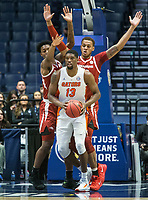 NWA Democrat-Gazette/BEN GOFF @NWABENGOFF<br /> Gabe Osabuohien (left) and Daniel Gafford, Arkansas forwards, guard Kevarrius Hayes, Florida center, in the first half Thursday, March 14, 2019, during the second round game in the SEC Tournament at Bridgestone Arena in Nashville.