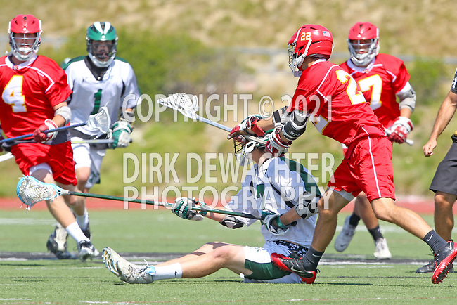 San Diego, CA 05/21/11 - Bill Schmitt (Coronado #17) and Spencer Schmitt (Cathedral Catholic #22) in action during the 2011 CIF San Diego Section Division 2 Varsity Lacrosse Championship between Cathedral Catholic and Coronado.