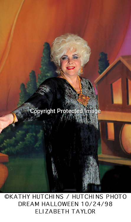 ©1998 KATHY HUTCHINS / HUTCHINS PHOTO..5TH ANN. DREAM HAL'WN BENEFIT FOR..CHILDREN AFF. BY AIDS. -  LA., CA  10/24/98..Elizabeth Taylor