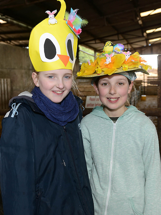 Leah Thewlis and Ruth Connolly who took part in the Easter bonnet competition at Newgrange Farm. Photo:Colin Bell/pressphotos.ie