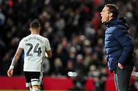 Scott Parker Manager of Fulham shouts instructions to his team from the dug-out during the Sky Bet Championship match between Fulham and Swansea Citry at Craven Cottage in London, England, UK. Wednesday February 26, 2020.