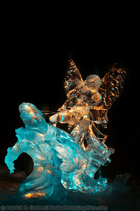 Running from Myself by Ivan Golubev, Valeriy Yurkevich. 2nd place, Single Block, 2003 World Ice Art Championships, Fairbanks Alaska.