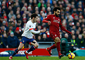 9th February 2019, Anfield, Liverpool, England; EPL Premier League football, Liverpool versus AFC Bournemouth; Mohamed Salah of Liverpool holds off the challenge of Adam Smith of Bournemouth