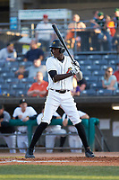 Oneil Cruz (7) of the West Virginia Power at bat against the Lexington Legends at Appalachian Power Park on June 7, 2018 in Charleston, West Virginia. The Power defeated the Legends 5-1. (Brian Westerholt/Four Seam Images)