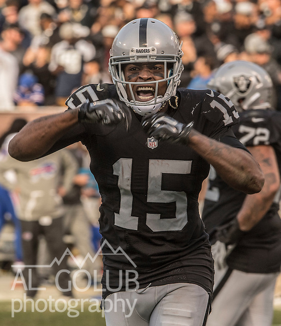 Oakland Raiders wide receiver Michael Crabtree (15) celebrates catching touchdown pass on Sunday, December 04, 2016, at O.co Coliseum in Oakland, California.  The Raiders defeated the Bills 38-24.