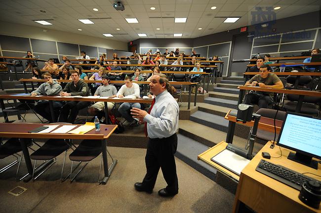 Kroc Institute professor George Lopez teaches an undergraduate course...Photo by Matt Cashore/University of Notre Dame