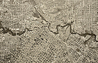 historical aerial photograph Houston, Texas, 1953