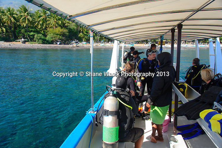 Divers gearing up at the dive site
