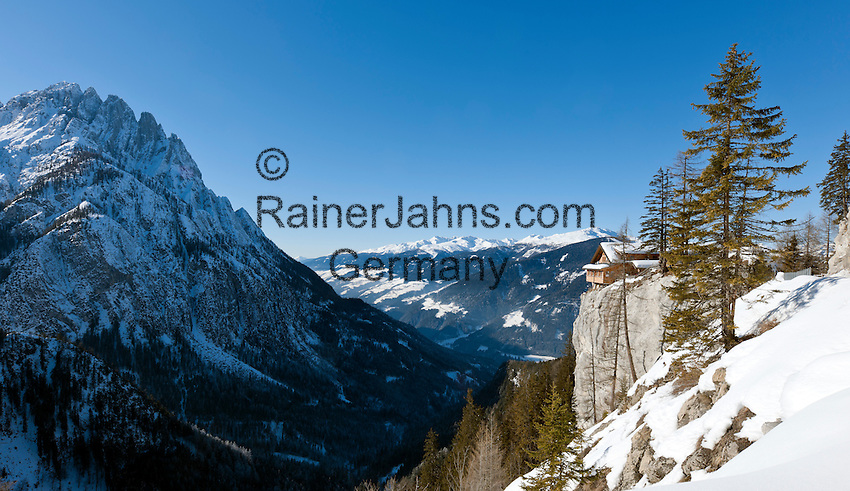Austria, East-Tyrol, Lienz: Mountain Inn Lienz Dolomites hut (1.616 m), left Spitzkofel mountain (2717 m) at Lienz Dolomites | Oesterreich, Ost-Tirol, Lienz: Lienzer Dolomitenhuette (1.616 m), links der Spitzkofel (2717 m) in den Lienzer Dolomiten