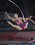 Delhi 2010 Commonwealth Games..Francesca Jones (Wales) competing in the Rhythmic Gymnastics final at the Indira Gandhi Sports Complex..14.10.10.Photo Credit-Steve Pope-Sportingwales