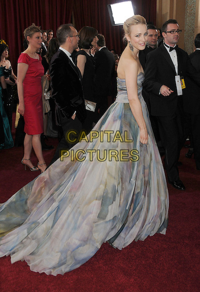 RACHEL McADAMS .82nd Annual Academy Awards held at the Kodak Theatre, Hollywood, California, USA..March 7th, 2010.oscars full length grey gray watercolour watercolor print blue dress  patterned side pattern printed strapless maxi silk gown .CAP/ADM/BP.©Byron Purvis/AdMedia/Capital Pictures.