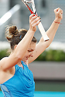 Roumanian tennis player Simona Halep celebration during Madrid Open Tennis 2014 match. May 08, 2014. (ALTERPHOTOS/Victor Blanco)