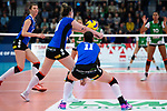18.11.2018, Halle Berg Fidel, Muenster<br />Volleyball, Bundesliga Frauen, Normalrunde, USC MŸnster / Muenster vs. VfB Suhl Lotto ThŸringen / Thueringen<br /><br />Annahme Maiara Basso (#10 Suhl), Claudia Steger (#11 Suhl) / Werbung Suhl fuer Landkreis Schmalkalden / Meiningen - prachtregion.de<br /><br />  Foto &copy; nordphoto / Kurth
