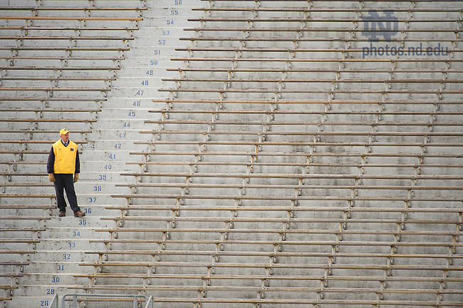 Nov. 3, 2012; An usher waits for fans to fill the stadium before Notre Dame's game against Pittsburgh. Photo by Barbara Johnston/University of Notre Dame