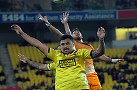 Jaguares' Javier Ortega Desio wins a Hurricanes lineout throwin during the Super Rugby match between the Hurricanes and Jaguares at Westpac Stadium in Wellington, New Zealand on Friday, 17 May 2019. Photo: Dave Lintott / lintottphoto.co.nz