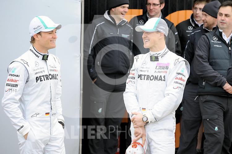 01.02.2011, Street Circuit. Jerez, ESP, Formel 1 Test 1 Valencia 2011,  im Bild  Mercedes Launch - Mercedes W02 Launch 2011 - Nico Rosberg (GER), Mercedes GP - Michael Schumacher (GER), Mercedes GP  Foto: nph / Dieter Mathis< gemischt >