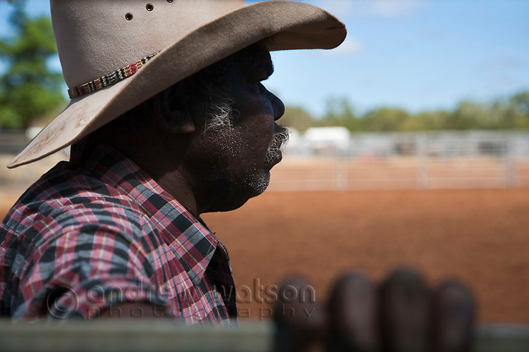 Indigenous stockman at the Chillagoe Rodeo.  Chillagoe, Queensland, Australia