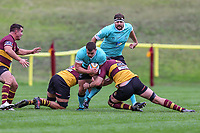 Match action during the Greene King IPA Championship match between Ampthill RUFC and Nottingham Rugby on Ampthill Rugby's Championship Debut at Dillingham Park, Woburn St, Ampthill, Bedford MK45 2HX, United Kingdom on 12 October 2019. Photo by David Horn.