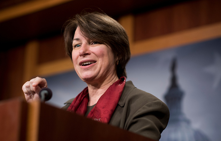 UNITED STATES - MARCH 14: Sen. Amy Klobuchar, D-Minn.,  speaks during the Senate Democrats' news conference to unveil the FAMILY Act on Tuesday, March 14, 2017. (Photo By Bill Clark/CQ Roll Call)