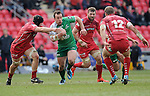 Connacht's Shane O'Leary bursts through the Scarlets defence. <br /> <br /> Rugby - Scarlets V Connacht - Guinness Pro12 - Sunday 15th Febuary 2015 - Parc-y-Scarlets - Llanelli<br /> <br /> © www.sportingwales.com- PLEASE CREDIT IAN COOK