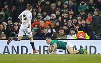 Saturday 2nd February 2019 | Ireland vs England<br /> <br /> John Cooney scores during the opening Guinness 6 Nations clash between Ireland and England at the Aviva Stadium, Lansdowne Road, Dublin, Ireland.  Photo by John Dickson / DICKSONDIGITAL